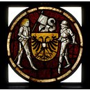 Shield of arms with knight supporters (Panel)