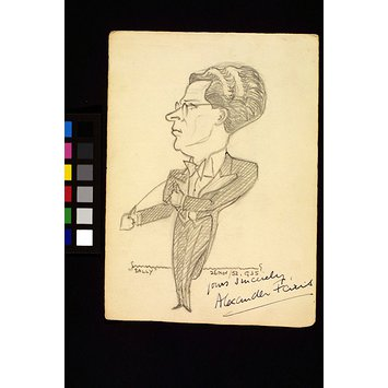 Caricature - Alexander Faris conducting a performance of Sally