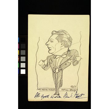 Caricature - Alan Abbott conducting a performance of The Merry Widow