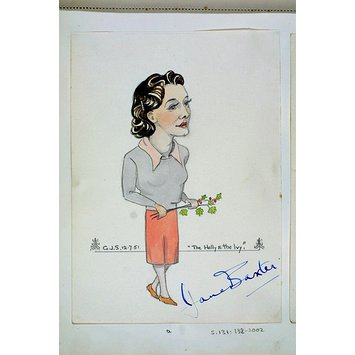 Caricature - Jane Baxter in The Holly and the Ivy