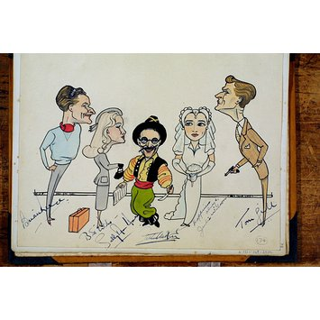 Caricature - Brian Reece, Sally Ann Howes, Arthur Askey, Julie Wilson and Tom Gill in Bet Your Life