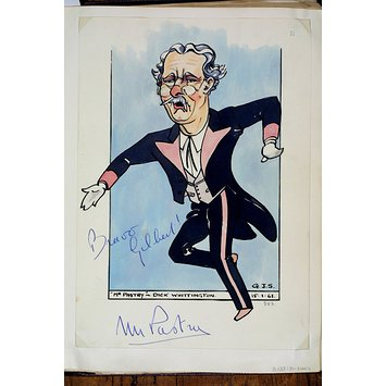 Caricature - Richard Hearne as 'Mr. Pastry' in Dick Whittington