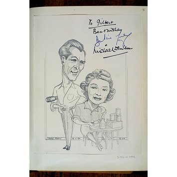 Caricature - Dulcie Gray and Michael Denison in Sweet Peril