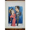 Kay Kendall and Robert Flemyng in Bell, Book and Candle (Caricature)