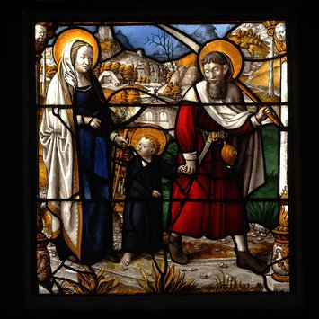 Panel - Return of the Holy Family from Egypt; Holy Family Going to Jerusalem