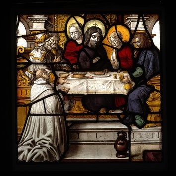 Panel - The Supper in the house of Simon, with a kneeling Premonstratensian canon