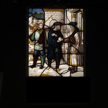 Panel - Legend of St Barbara: Origen gives a letter to a messenger