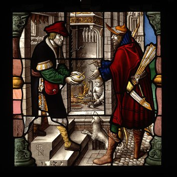 Panel - Esau Gives up his Birthright; Jacob and Esau with the Bowl of Pottage