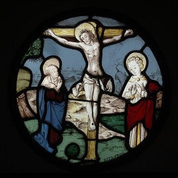 Roundel - The Crucifixion with the Virgin and St John