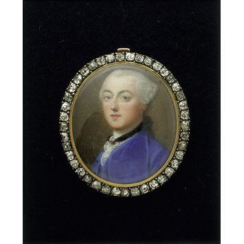 Enamel miniature - Enamel portrait miniature of an unknown man