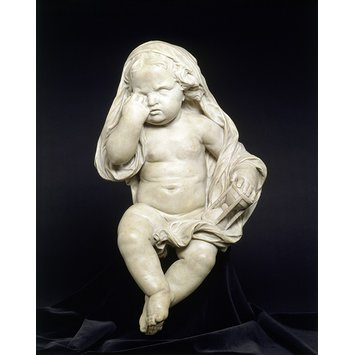 Statuette - Mourning Child with hour glass
