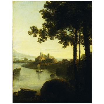 Oil painting - Landscape, evening; river scene with castle.