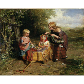 Oil painting - Spring Flowers; Children Gathering Wild Flowers