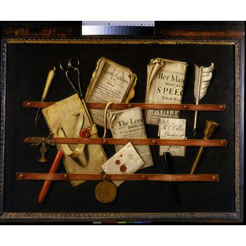 Oil painting - Trompe l'oeil with Writing Materials