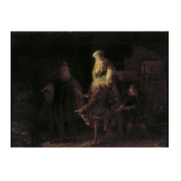 Oil painting - Abraham dismissing Hagar and Ishmael