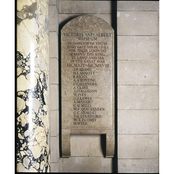 Memorial tablet - Memorial tablet commemorating Museum personnel killed in the First World War