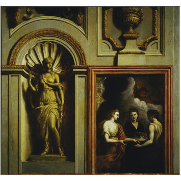 Painting - Architectural elements with Psyche Giving Gifts to Her Sisters