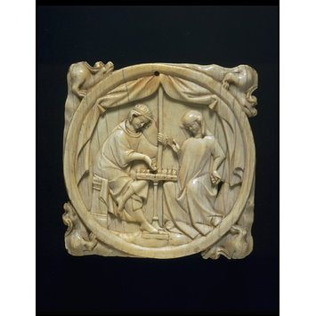 Mirror case - Knight and a Lady playing chess