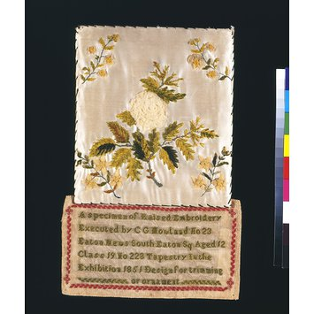 Panel of embroidery - A Specimen of Raised Embroidery