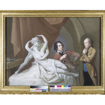 Pastel - Antonio Canova in his studio with Henry Tresham and a plaster model for Cupid and Psyche