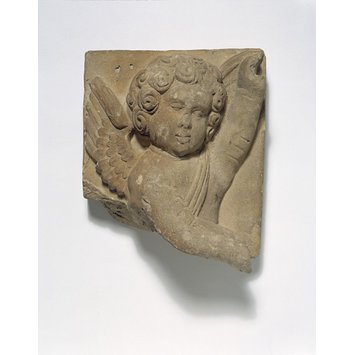 Fragment - Fragment of decoration, half length figure of Cupid