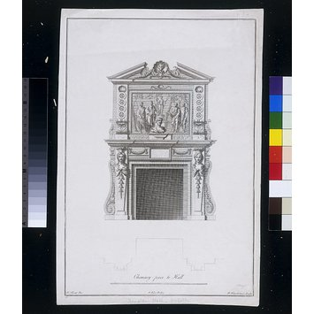 Print - Plate 26, Chimneypiece to Hall, Houghton Hall, Norfolk; The Plans, Elevations and Sections, Chimney-pieces and Cielings [sic] of Houghton in Norfolk