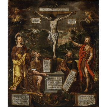 Painting - The Crucifixion with Moses, David, St Paul and St John the Baptist
