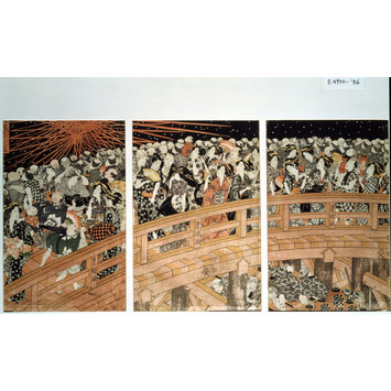 Woodblock print - Fireworks at Ryogoku Bridge