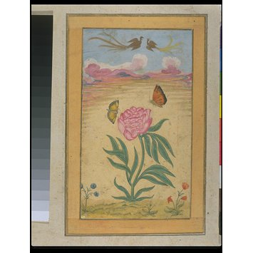 Painting - flowering plants, butterflies, and simurghs