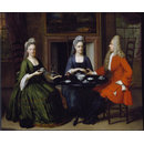 Two ladies and an officer seated at tea (Oil painting)