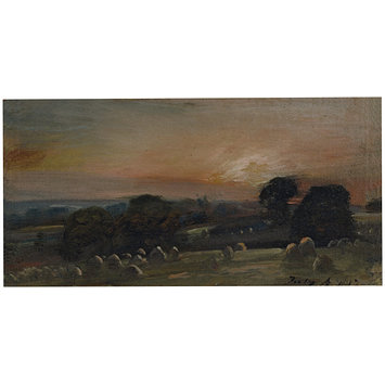 Oil painting - A Hayfield near East Bergholt at Sunset