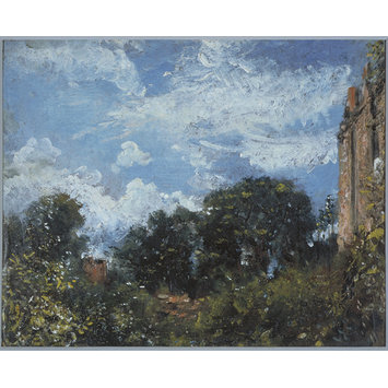 Oil sketch - Study of sky and trees, with a red house, at Hampstead