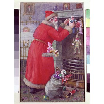 Illustration - Father Christmas hanging toys over a fireplace
