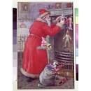 Father Christmas hanging toys over a fireplace (Illustration)