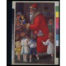 Father Christmas distributing toys to children (Illustration)