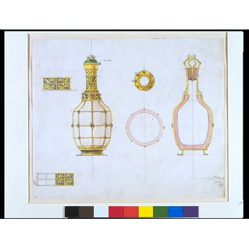 Design - Design for a decanter, a flask mounted in silver gilt