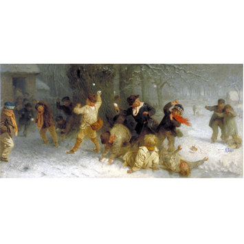 Oil painting - Snowballing