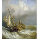 A Dutch Dogger Carrying Away her Sprit; On the Dogger Bank (Oil painting)