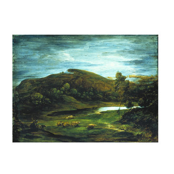 Oil painting - Open Landscape with Shepherd, Sheep, Pool and Distant Hills