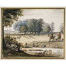 View of a Park with Huntsmen and Deer (Watercolour)
