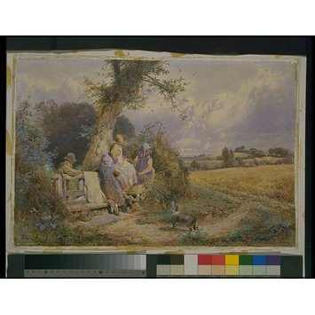 Watercolour - Young Gleaners Resting by a Stile