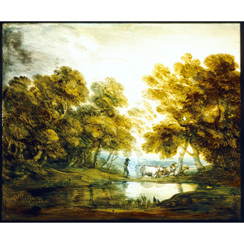 Oil painting - Wooded Landscape with Herdsman Driving Cattle