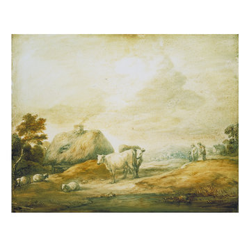 Oil painting - Open Landscape with Peasants, Cows, Sheep, Cottages and Pool