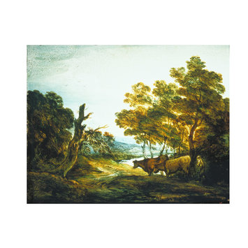Oil painting - Wooded Landscape with a Herdsman and Two Cows