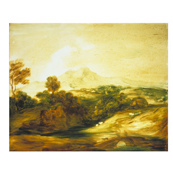 Oil painting - Wooded River Landscape with Figures on a Bridge, Cottage, Sheep and Distant Mountains