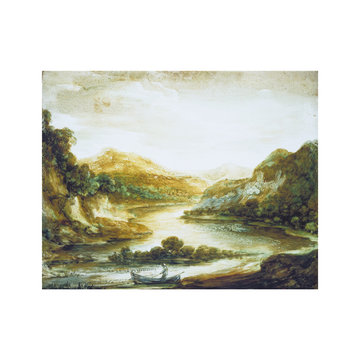 Oil painting - Wooded River Landscape with Fisherman in a Rowing Boat, High Banks and Distant Mountains