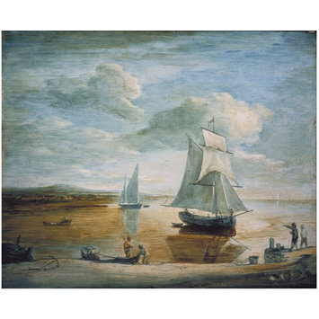 Oil painting - Coastal Scene with Sailing and Rowing Boats and Figures on the Shore