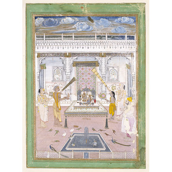 Painting - Maharaja Madho Singh worshipping at a Krishna shrine