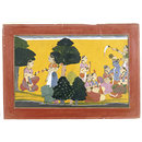 Radha's messenger describes Krishna sitting with the cowgirls (Painting)