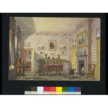 Watercolour - View of a room at Christ Church, Oxford